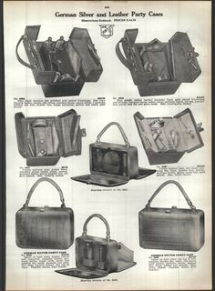 1915 Ad Sterling German Silver Mesh Bag Purse Extra Heavy Leather Party Case | eBay