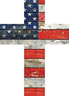 American Flag Red White and Blue Distressed 7 x 5 Wood Wall Art Cross Plaque