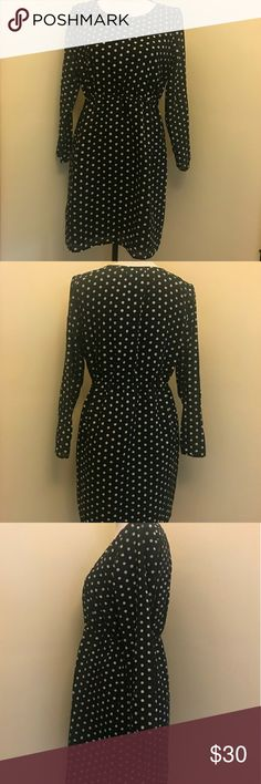 J Crews polka dot dress Beautiful 100% polyester lined dress with 3/4 length sleeves. Elastic waist. No trades. I only deal through Poshmark. Smoke free/pet free home. Excellent condition. J. Crew Dresses