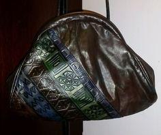 80's Vintage Leather Embossed Handbag #Handmade #Vintage