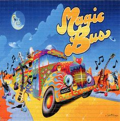 MAGIC DANCING BUS  - perforated sheet BLOTTER ART psychedelic acid free paper