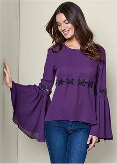 Order a sexy Purple Bell Sleeve Lace Up Top from VENUS. Shop short sleeve tops, tanks, tees, blouses and more at an affordable price today! Bell Sleeve Dress, Bell Sleeves, Sleeve Dresses, Kurti Sleeves Design, Pakistani Fashion Casual, Colored Skinny Jeans, Mix And Match Bikini, Long Blouse, Stunning Dresses