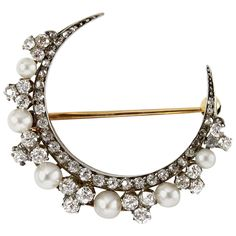 Victorian Natural Pearl Diamond Silver Gold Crescent Brooch | From a unique collection of vintage brooches at https://www.1stdibs.com/jewelry/brooches/brooches/