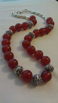 Items similar to Handmade Stirling Silver & Carnelian Gemstone Necklace on Etsy