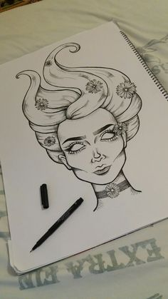Occult woman with daisies by anna loubani fazer desenhos, desenhos novos, d Dark Art Drawings, Art Drawings Sketches Simple, Pencil Art Drawings, Easy Drawings, Drawing Ideas, Art Sketchbook, Doodle Art, Painting & Drawing, Amazing Art