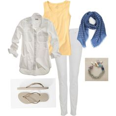 """White, blue, yellow"" by simple-wardrobe on Polyvore"