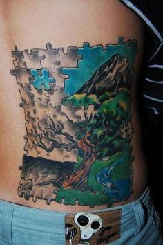 Puzzle tattoo. I like the idea but a different picture