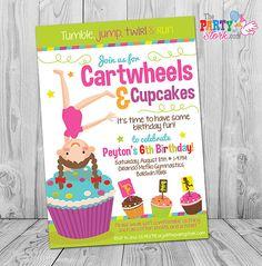 Gymnastics Birthday Invitation, Cartwheels and Cupcakes Birthday, Gymnastics Party, Gymnastics Party Invitation