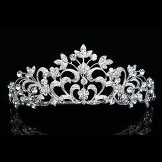 Bridal Floral Headpiece Crystal Rhinestone Pageant Prom Wedding Tiara V651