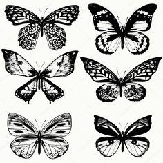 Una colección de mariposas realista vector de estilo vintage Butterfly Stencil, Black Silhouette, Vintage Stil, Retro, Illustration, Tatting, Stencils, Drawings, Butterflies