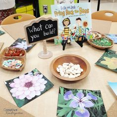 Inquiry centers for kindergarten seeds and flowers exploration for science activities. Science Inquiry, Inquiry Based Learning, Preschool Science, Visual Learning, Science Fun, Preschool Learning, Teaching Art, Learning Activities, Kindergarten Inquiry