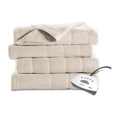Sunbeam Heated Fleece Electric Blanket Twin Size 10 Hour Shut Off With A