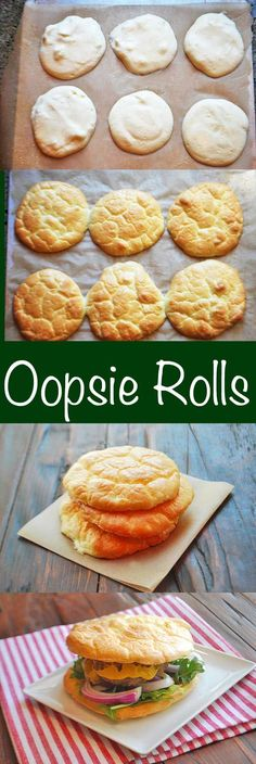 "Oopsie rolls are almost-zero-carb ""rolls"" that are flourless and gluten-free. Their texture is similar to a spongy white bun and their taste is neutral. via @healthyrecipes"