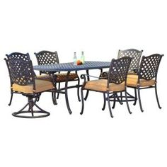 Sunjoy Ruby 7 Piece Patio Dining Set L DN605SAL At The Home Depot