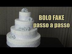 Como fazer bolo fake com renda passo a passo - YouTube Bolo Artificial, Bolo Fack, Fake Cake, Biscuits, Wedding Decorations, Frozen, Goodies, Food And Drink, 35