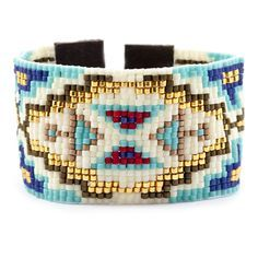 Turquoise Mix Cuff Bracelet on Brown Leather - Chan Luu