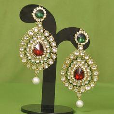Stone With Kundan Earrings