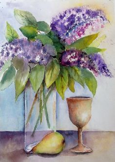 Lilacs-- Still life...Watercolor on paper by Mahjabin GG