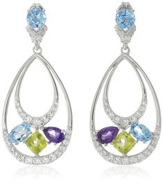 Sterling Silver Multi-Gemstone Tear Drop Earrings *** For more information, visit image link. (This is an affiliate link) #JewelryForWomen