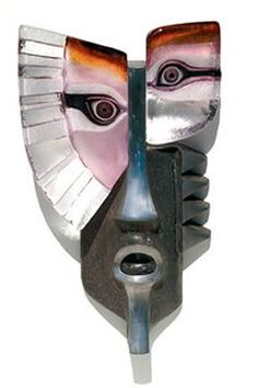 Urik Limited Edition Purple Wall Mask Sculpture Made of Swedish Crystal available at AllSculptures.com