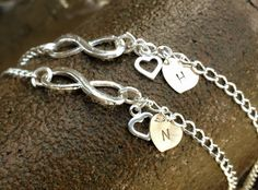 infinity, personalized infinity bracelet anklet,Infinity Bracelet, mom and daughter, initial Bracelet, Sister Bracelets, bridal jewelry