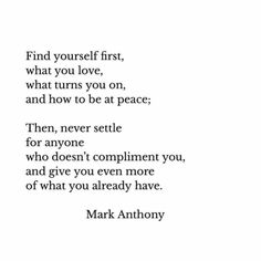 Find yourself first...