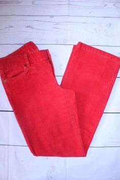 J Crew Pants 6S Short Red Tomato Favorite Fit Boot Cut Casual Corduroy Pants…