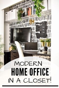 Turn an under-used closet into an office nook or cloffice with these simple but brillant small space Ikea hacks! Ikea Home Office, Home Office Closet, Office Nook, Home Office Organization, Tiny Office, Organizing, Ikea Hacks, Make A Closet, Office Space Design