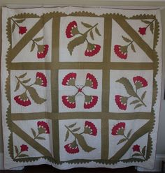 Quilt~ 1869 Applique Wedding Commemoration with Names , Baltimore area, Cow Hollow Collectibles, Ruby Lane