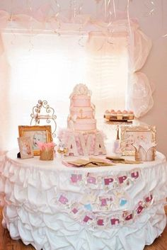 "Photo 22 of Birthday ""Pink Shabby Chic Princess Party"" 1st Birthday Foods, Happy Birthday Cakes, 6th Birthday Parties, Birthday Bash, Birthday Ideas, Baby Girl Birthday, Gold Birthday, Princess Birthday, Minnie Mouse"