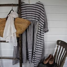 Navy and White Striped Patched European Linen Dress One Size Fits Most
