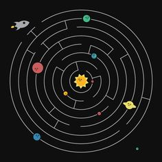Planetary Maze Art Print by Adhesive Hippo