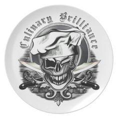 Winking Chef Skull Dinner Plates | Zazzle