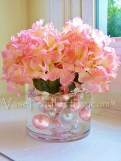 80 Light Baby Pink/Blush Pink and White Pearls Jumbo and Assorted Sizes - Vase Fillers Value Pack.To Float the Pearls, you will need to order the Transparent Water Gels Separately. Pearl Centerpiece, Pink Wedding Centerpieces, Candle Centerpieces, Vases Decor, Wedding Decorations, Vase Decorations, Communion Centerpieces, Light Pink Rose, Pink White