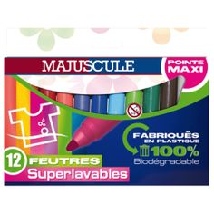 (4e90) Maxi feutres pointe large, couleurs assorties. Pochette de 12.