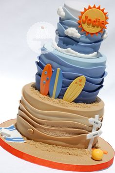My Fave Tiered Beach Wave Cake Ever - by RoyalBakery @ CakesDecor.com - cake decorating website