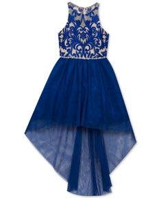 4853e69d6d Rare Editions Big Girls Embroidered High-Low Hem Party Dress - Blue 16  Party Dresses