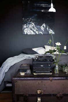 WOW, i would paint a room this color if I had that pic and comforter...and big windows :)... and the typewriter... and the chest... OKAY! I'LL TAKE IT ALL!
