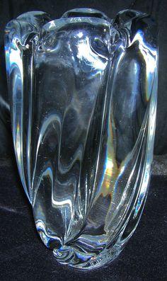 Vintage Orrefors Mid-Century Crystal Vase, Waterfall Pattern, Signed by HeyGrandmaHadThat on Etsy
