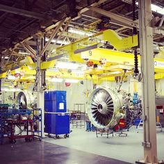 CFM56 #engines on the plant floor at #GE #Aviation in Cincinnati, OH. #avgeek #technology #manufacturing