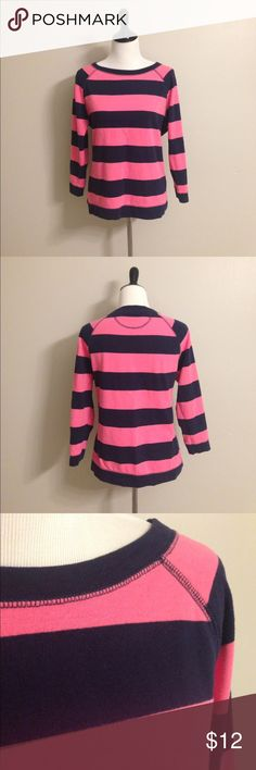 Navy and pink striped sweatshirt Navy and pink striped sweatshirt.Good condition Merona Sweaters