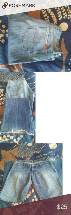 Bootleg Rhinestone Pocket Jeans Bootleg jeans with light fade wash and simply rhinestones on pockets. Gently worn but excellent condition. Cuffs slightly worn down. 7 for all Mankind Jeans Boot Cut