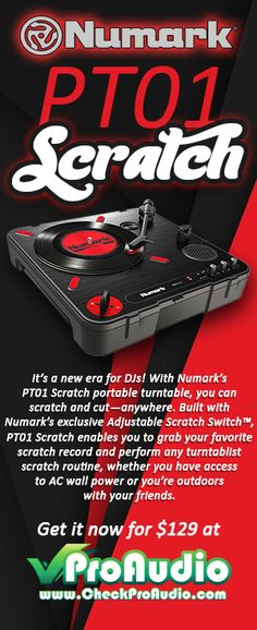 Get the best prices on top brands, like this Numark PT01 Scratch portable turntable!