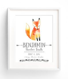 Custom Birth Stats Wall Art - Watercolor Nursery Decor - Woodland Animals Birth Announcement - Fox Nursery - Girl or Boy Nursery Art Customize your nursery wall art with your babys name, birthdate, weight, length, and time of birth. This art print features a beautiful watercolour fox. Available in 8x10, 11x14, and 12x16. Perfect as a gift for new parents, or as a finishing touch to your childs bedroom! Printed on Matte Photo Supreme paper, using HP Vivera pigment inks, which are water-res...