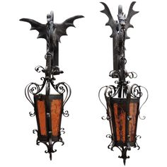 Vintage Iron Winged Griffon Sconces from The Old Light Warehouse on Ruby Lane