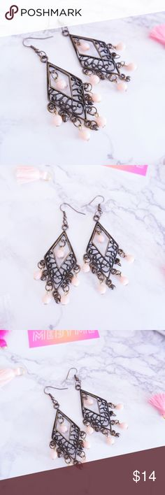 ⚡️SALE⚡️MEBYME Beaded Charm Earrings Brand: MEBYME Size: 3 inches long Material: Alloy Metal Color: Antique Bronze, Light Pink Style: Handmade Beaded Earrings No trades  Same or Next day Shipping MEBYME Jewelry Earrings