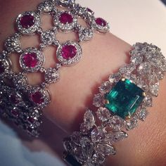 A ruby and diamond bracelet, and a #VanCleef&Arpels emerald and diamond bracelet, both to be sold @christiesinc Hong Kong on November 26 #christiesjewels