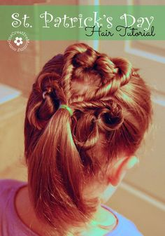 Learn how to create this adorable shamrock hair style for St. Patrick's Day with this simple tutorial from OneCreativeMommy.com: