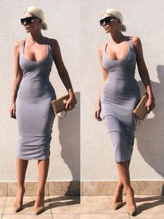 Basics. Grey midi dress. As simple as that! Jelena Karleusa (if I ever get back to the gym maybe!)