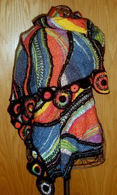 Ravelry: Hundertwasser-Style pattern by Liane Staehler Crochet Accessories, Vintage Accessories, Women Accessories, Fashion Accessories, Crochet Shawls And Wraps, Knitted Shawls, Freeform Crochet, Knit Crochet, Chrochet